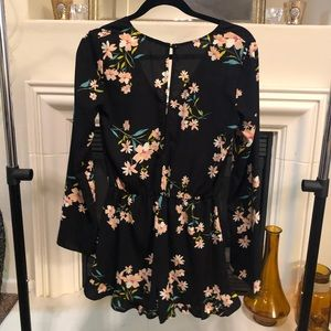 Urban Outfitters Other - UO Bell Sleeve Black Floral Romper